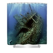 Technical Divers On The Giannis D In The Red Sea  Egypt Shower Curtain