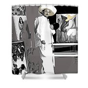 Ted Degrazia Painting Mural With Brush Mexico City C.1941-2013 Shower Curtain