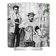 Ted Degrazia With  Uncle  Gregorio Circa 1920's-2013 Shower Curtain