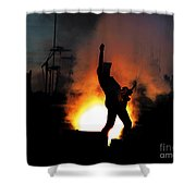 Ted Nugent On Fire Shower Curtain