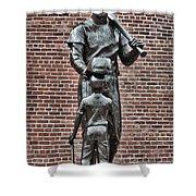 Ted Williams Statue - Boston Shower Curtain by Joann Vitali