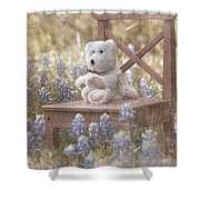 Teddy Bear And Texas Bluebonnets Shower Curtain