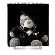 Teddy Bear Groom Shower Curtain by Edward Fielding