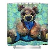 Teddy Bear In Blue Shower Curtain