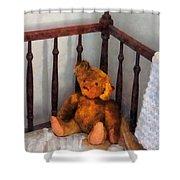 Teddy Bear In Crib Shower Curtain