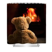 Teddy By The Fire Shower Curtain