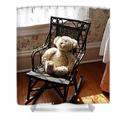 Teddy In Old Fashioned Rocker Shower Curtain