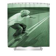 Teenager Skateboarding Down Road Shower Curtain