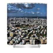 Tel Aviv Center Shower Curtain by Ron Shoshani