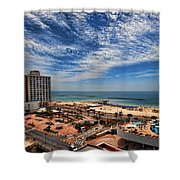 Tel Aviv Summer Time Shower Curtain by Ron Shoshani