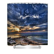 Tel Aviv Sunset At Hilton Beach Shower Curtain
