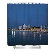 Tel Aviv The Blue Hour Shower Curtain by Ron Shoshani