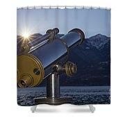 Telescope And Sunrise Shower Curtain