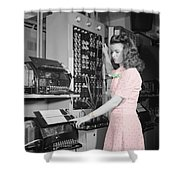 Teletype Girl Shower Curtain