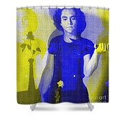 Teller / Early Shadows - Blue And Yellow  Shower Curtain