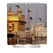 Temple At The Waterfront, Golden Shower Curtain