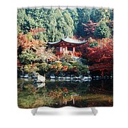 Temple Behind A Pond, Daigo-ji Temple Shower Curtain