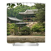 Temple By Lake And Forest Seoul South Korea Shower Curtain
