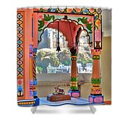Colorful Temple Entrance - Omkareshwar India Shower Curtain