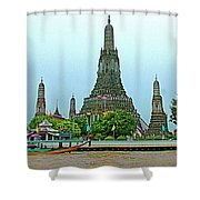 Temple Of The Dawn-wat Arun From Waterways Of Bangkok-thailand Shower Curtain