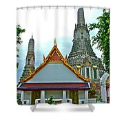 Temple Of The Dawn-wat Arun In Bangkok-thailand Shower Curtain