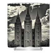 Temple Square Black And White Shower Curtain