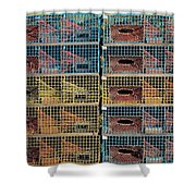 Ten Lobster Traps Shower Curtain by Stuart Litoff