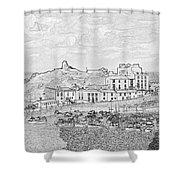 Tenby Harbor Panorama Shower Curtain