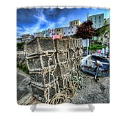 Tenby Lobster Traps Shower Curtain