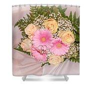 Tender Bridal Bouquet Witn Wedding Rings Shower Curtain