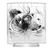 Tendrils In Pencil 01 Shower Curtain