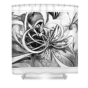 Tendrils In Pencil 02 Shower Curtain