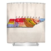Tennessee Map Art - Painted Map Of Tennessee Shower Curtain