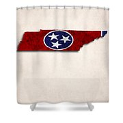 Tennessee Map Art With Flag Design Shower Curtain