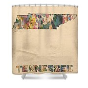 Tennessee Map Vintage Watercolor Shower Curtain