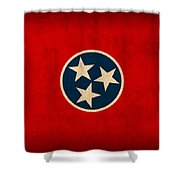 Tennessee State Flag Art On Worn Canvas Shower Curtain