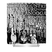 Tennessee Words Sign Shower Curtain by Chastity Hoff