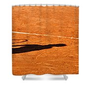 Tennis Player Shadow On A Clay Tennis Court Shower Curtain