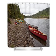 Tents And Canoes At Mcquesten River Yukon Canada Shower Curtain