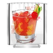 Tequila Sunrise Cocktail Marker Sketch Shower Curtain