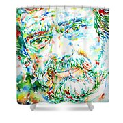 Terence Mckenna - Watercolor Portrait Shower Curtain