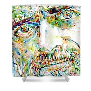 Terence Mckenna Watercolor Portrait.1 Shower Curtain