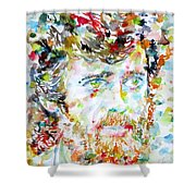 Terence Mckenna - Watercolor Portrait.3 Shower Curtain