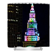 Terminal Tower Rainbow Shower Curtain