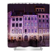Terraced Historic Houses At Night In Warsaw Shower Curtain