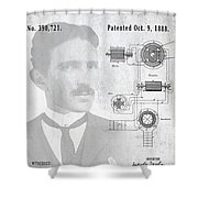 Tesla A / C Current Patent Art 1888 Shower Curtain
