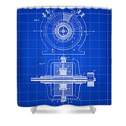 Tesla Alternating Electric Current Generator Patent 1891 - Blue Shower Curtain