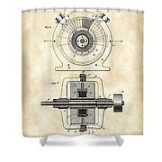 Tesla Alternating Electric Current Generator Patent 1891 - Vintage Shower Curtain