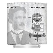 Tesla And The Electro Magnetic Motor Patent Shower Curtain
