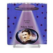 Tesla The Gorgeous Genius Shower Curtain